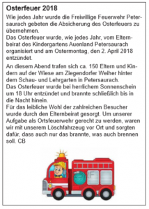 Bericht aus dem Amts- und Mitteilungsblatt der Gemeinde Petersaurach vom 20. April 2018