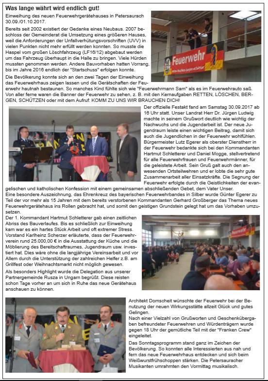 Bericht aus dem Amts- und Mitteilungsblatt der Gemeinde Petersaurach vom 17. November 2017