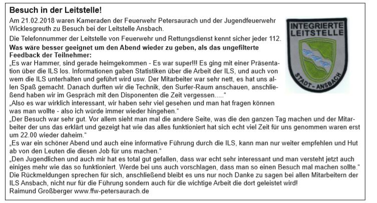 Bericht aus dem Amts- und Mitteilungsblatt der Gemeinde Petersaurach vom 19. März 2018